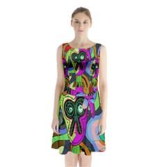 Colorful Goat Sleeveless Chiffon Waist Tie Dress by Valentinaart