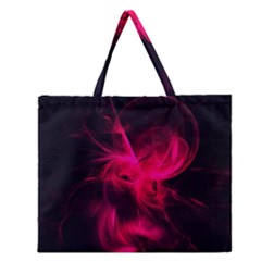 Pink Flame Fractal Pattern Zipper Large Tote Bag by traceyleeartdesigns