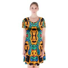 Gunja Highman Short Sleeve V Neck Flare Dress
