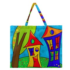 Two houses  Zipper Large Tote Bag by Valentinaart
