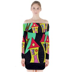 Two Houses 2 Long Sleeve Off Shoulder Dress by Valentinaart