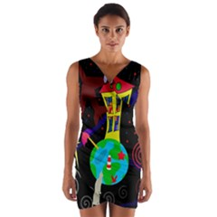 Colorful universe Wrap Front Bodycon Dress by Valentinaart