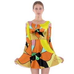 Sunflower On Sunbathing Long Sleeve Skater Dress by Valentinaart
