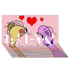 Love Party 3d Greeting Card (8x4) by Valentinaart