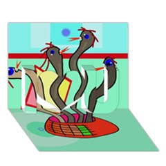 Dancing  Snakes I Love You 3d Greeting Card (7x5) by Valentinaart