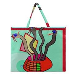 Dancing  Snakes Zipper Large Tote Bag by Valentinaart