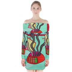 Dancing  Snakes Long Sleeve Off Shoulder Dress by Valentinaart