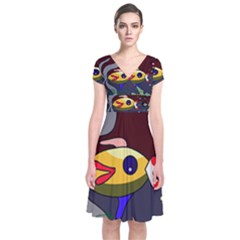 Fish Short Sleeve Front Wrap Dress by Valentinaart