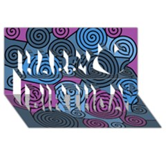 Blue Hypnoses Happy Birthday 3d Greeting Card (8x4) by Valentinaart