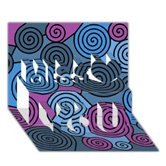 Blue Hypnoses Miss You 3d Greeting Card (7x5)
