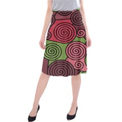 Red and green hypnoses Midi Beach Skirt by Valentinaart