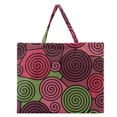 Red And Green Hypnoses Zipper Large Tote Bag by Valentinaart