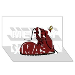 Boot Merry Xmas 3D Greeting Card (8x4) by Valentinaart