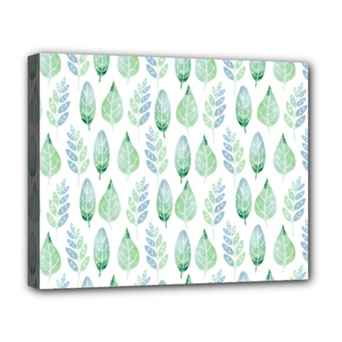 Green Watercolour Leaves Pattern Deluxe Canvas 20  X 16   by TanyaDraws