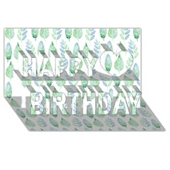 Green Watercolour Leaves Pattern Happy Birthday 3d Greeting Card (8x4) by TanyaDraws