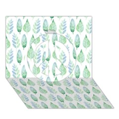 Green Watercolour Leaves Pattern Peace Sign 3d Greeting Card (7x5) by TanyaDraws