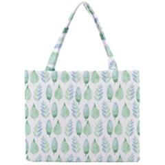 Green Watercolour Leaves Pattern Mini Tote Bag by TanyaDraws