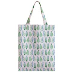 Green Watercolour Leaves Pattern Zipper Classic Tote Bag by TanyaDraws