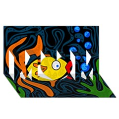 Yellow fish MOM 3D Greeting Card (8x4) by Valentinaart