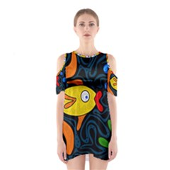 Yellow fish Cutout Shoulder Dress by Valentinaart