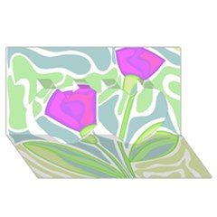 Purple Flowers Twin Hearts 3d Greeting Card (8x4) by Valentinaart