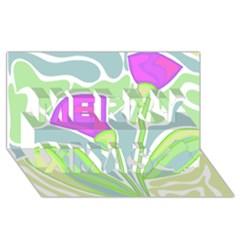 Purple Flowers Merry Xmas 3d Greeting Card (8x4) by Valentinaart