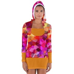 Geometric Fall Pattern Women s Long Sleeve Hooded T Shirt by DanaeStudio