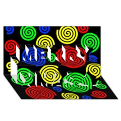 Colorful hypnoses Merry Xmas 3D Greeting Card (8x4) by Valentinaart