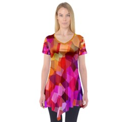Geometric Fall Pattern Short Sleeve Tunic  by DanaeStudio