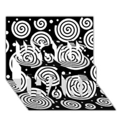 Black And White Hypnoses Work Hard 3d Greeting Card (7x5) by Valentinaart
