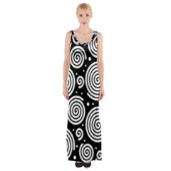 Black And White Hypnoses Maxi Thigh Split Dress by Valentinaart