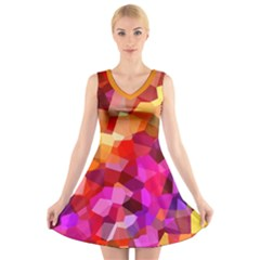Geometric Fall Pattern V Neck Sleeveless Dress by DanaeStudio