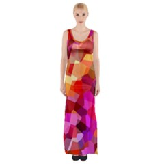 Geometric Fall Pattern Maxi Thigh Split Dress by DanaeStudio