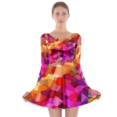 Geometric Fall Pattern Long Sleeve Skater Dress by DanaeStudio