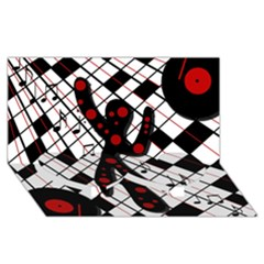 On The Dance Floor  Twin Heart Bottom 3d Greeting Card (8x4) by Valentinaart