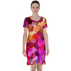 Geometric Fall Pattern Short Sleeve Nightdress by DanaeStudio