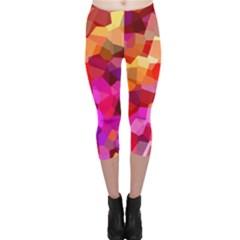 Geometric Fall Pattern Capri Leggings  by DanaeStudio