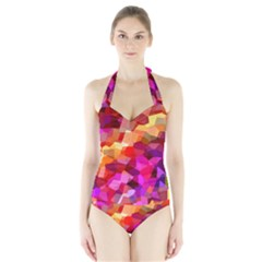 Geometric Fall Pattern Halter Swimsuit by DanaeStudio