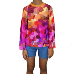 Geometric Fall Pattern Kid s Long Sleeve Swimwear by DanaeStudio