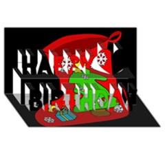 Christmas Sock Happy Birthday 3d Greeting Card (8x4) by Valentinaart