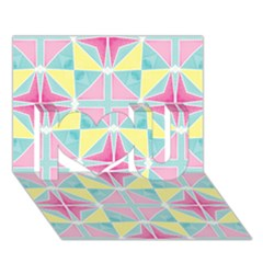 Pastel Block Tiles Pattern I Love You 3d Greeting Card (7x5) by TanyaDraws