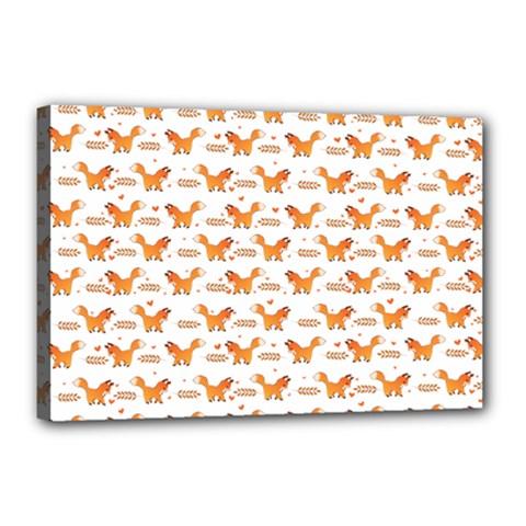 Fox And Laurel Pattern Canvas 18  X 12  by TanyaDraws