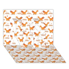 Fox And Laurel Pattern Love 3d Greeting Card (7x5)