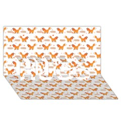 Fox And Laurel Pattern Hugs 3d Greeting Card (8x4) by TanyaDraws