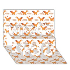 Fox And Laurel Pattern Miss You 3d Greeting Card (7x5) by TanyaDraws