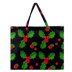 Christmas Berries Pattern  Zipper Large Tote Bag by Valentinaart