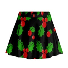 Christmas Berries Pattern  Mini Flare Skirt