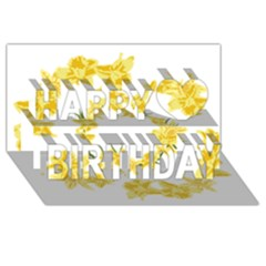 Daffodils Illustration  Happy Birthday 3d Greeting Card (8x4) by vanessagf