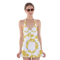Daffodils Illustration  Halter Swimsuit Dress by vanessagf