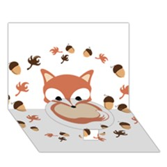 Fox In Autumn Circle Bottom 3d Greeting Card (7x5) by vanessagf